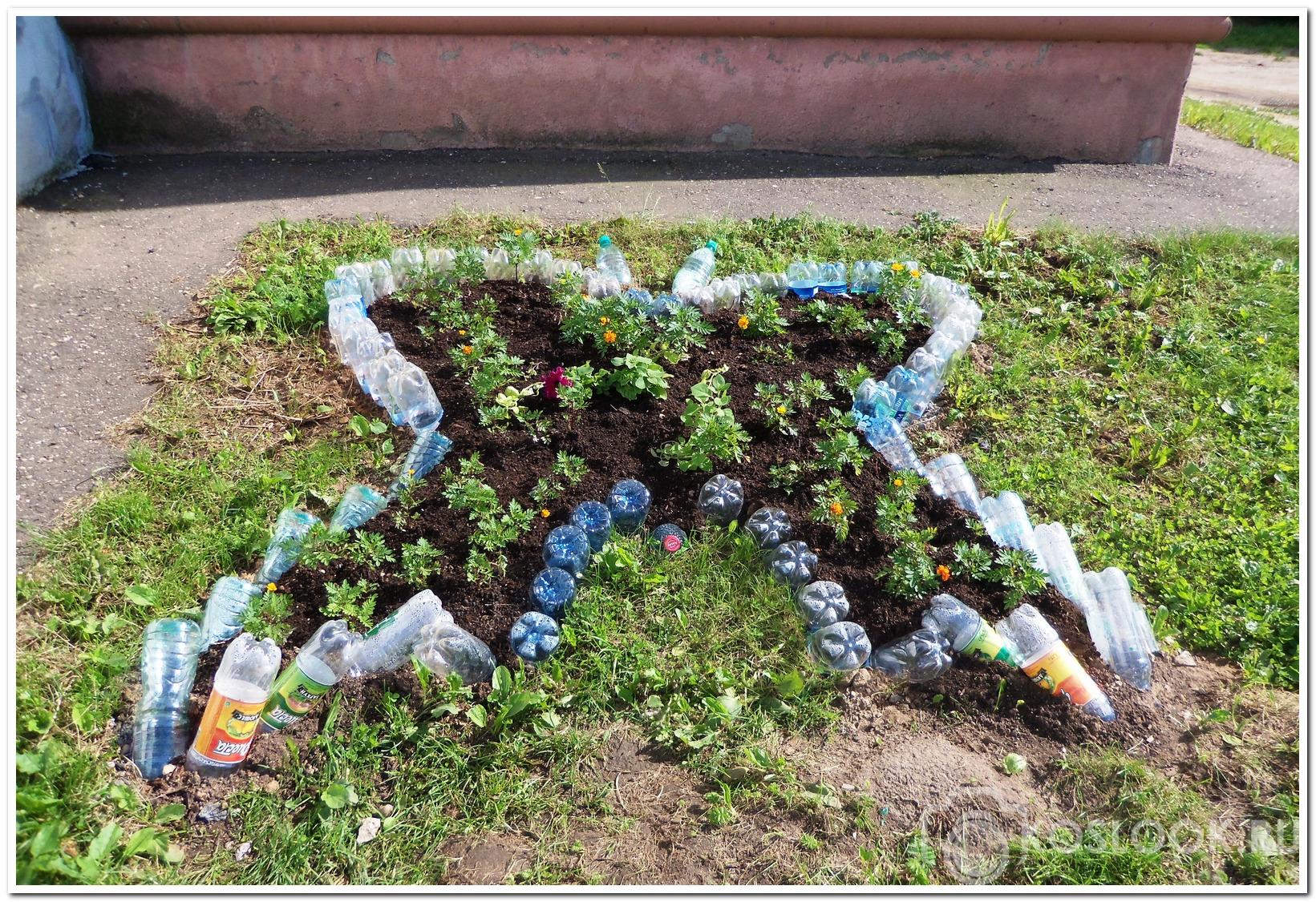 Как из пластиковых бутылок сделать клумбу